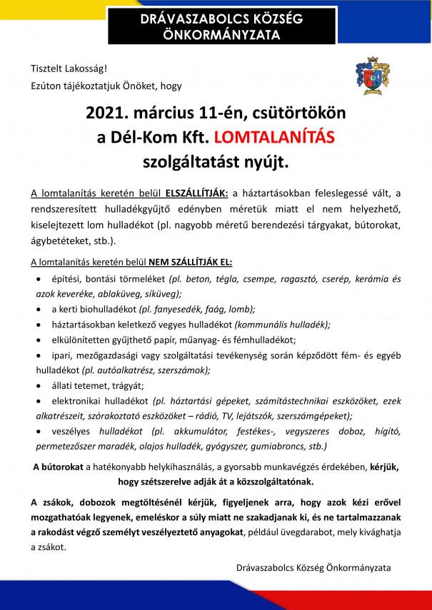 Lomtalanítás 2021